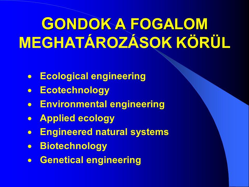 G ONDOK A FOGALOM KÖRÜL G ONDOK A FOGALOM MEGHATÁROZÁSOK KÖRÜL  Ecological engineering  Ecotechnology  Environmental engineering  Applied ecology