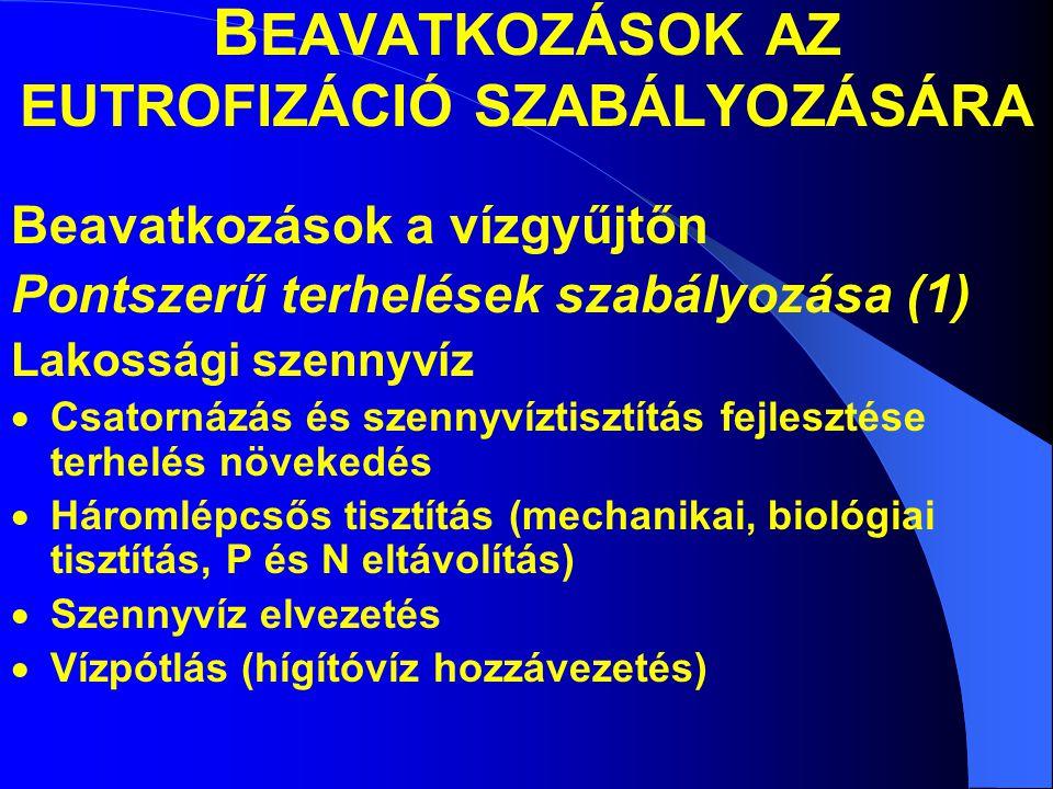 B EAVATKOZÁSOK AZ EUTROFIZÁCIÓ SZABÁLYOZÁSÁRA Beavatkozások a vízgyűjtőn Pontszerű terhelések szabályozása (1) Lakossági szennyvíz  Csatornázás és szennyvíztisztítás fejlesztése terhelés növekedés  Háromlépcsős tisztítás (mechanikai, biológiai tisztítás, P és N eltávolítás)  Szennyvíz elvezetés  Vízpótlás (hígítóvíz hozzávezetés)