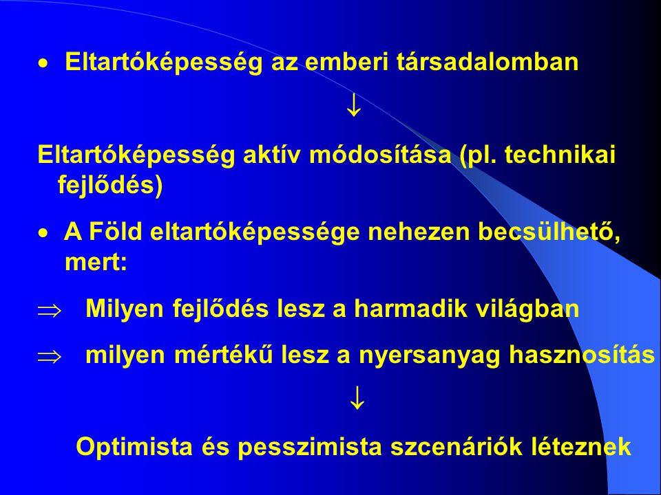  Eltartóképesség az emberi társadalomban  Eltartóképesség aktív módosítása (pl.