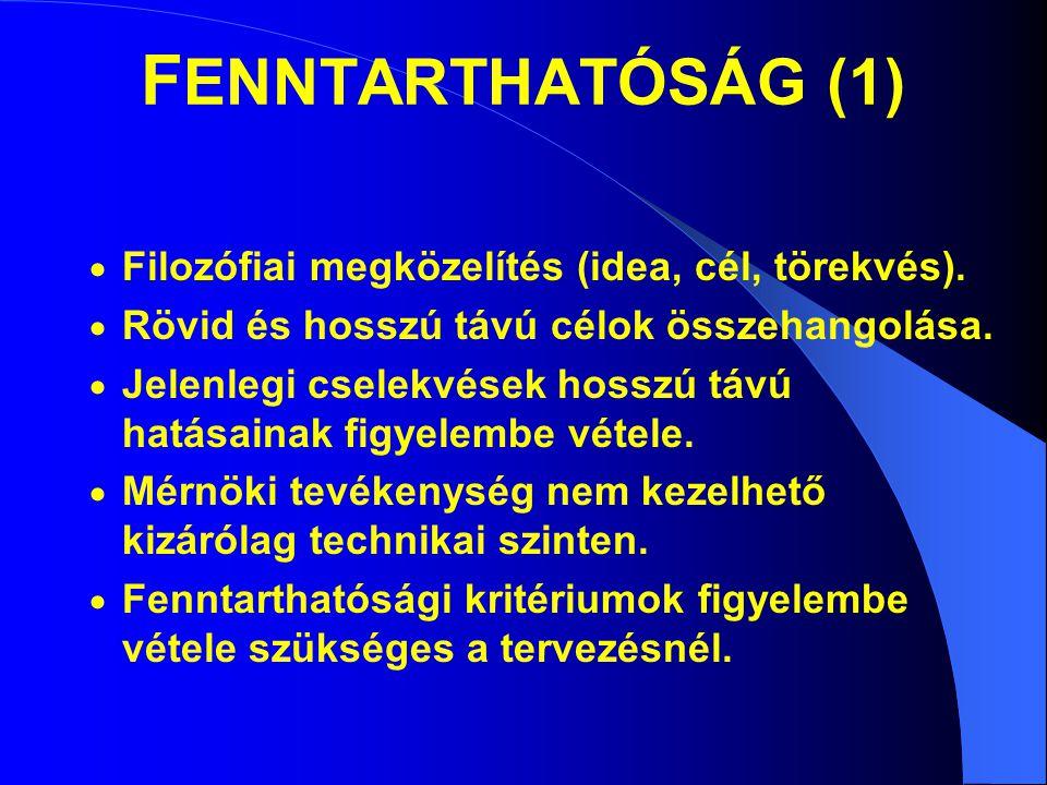 F ENNTARTHATÓSÁG (1)  Filozófiai megközelítés (idea, cél, törekvés).