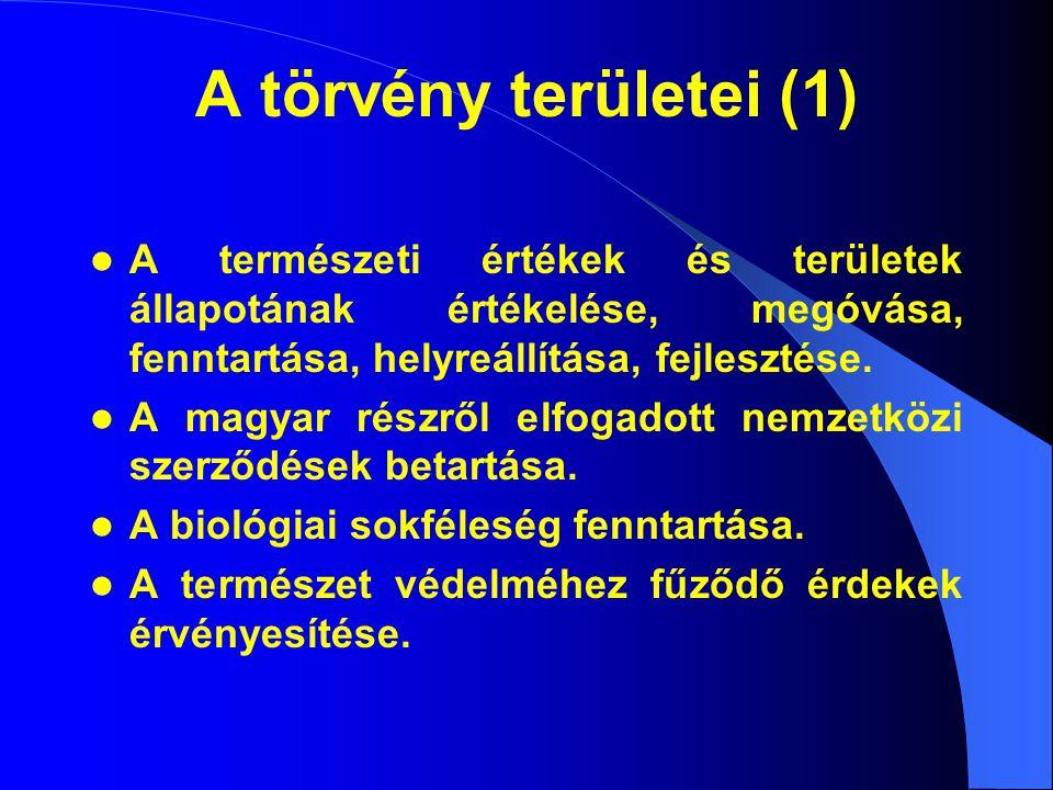 A törvény területei (1) A természeti értékek és területek állapotának értékelése, megóvása, fenntartása, helyreállítása, fejlesztése.