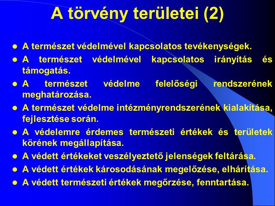A törvény területei (2) A természet védelmével kapcsolatos tevékenységek.