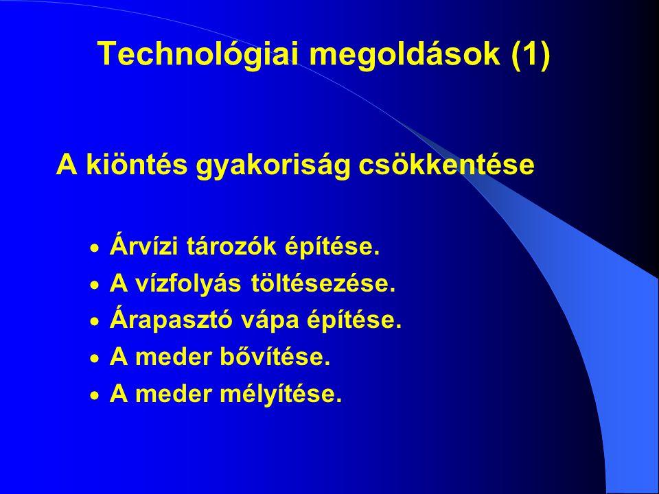 Technológiai megoldások (1) A kiöntés gyakoriság csökkentése  Árvízi tározók építése.  A vízfolyás töltésezése.  Árapasztó vápa építése.  A meder