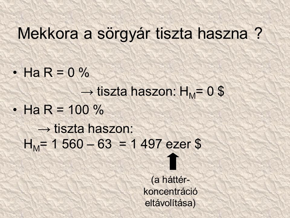 Mekkora a sörgyár tiszta haszna ? Ha R = 0 % → tiszta haszon: H M = 0 $ Ha R = 100 % → tiszta haszon: H M = 1 560 – 63 = 1 497 ezer $ (a háttér- konce