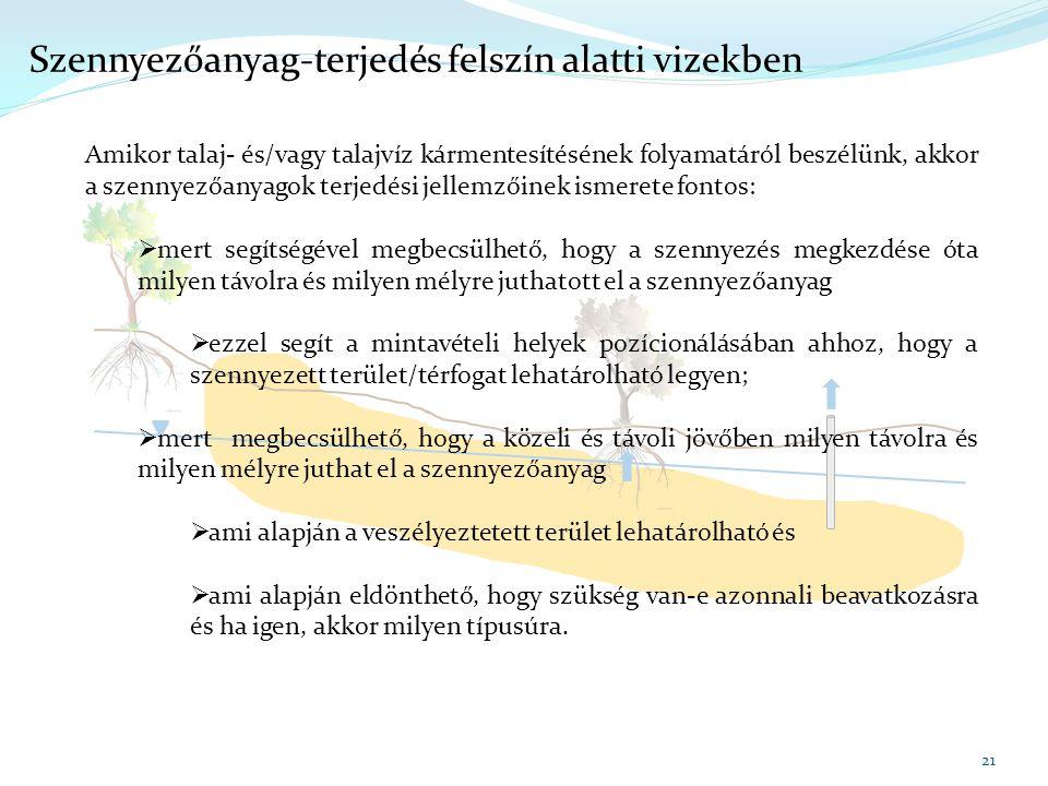 21 Szennyezőanyag-terjedés felszín alatti vizekben Amikor talaj- és/vagy talajvíz kármentesítésének folyamatáról beszélünk, akkor a szennyezőanyagok t