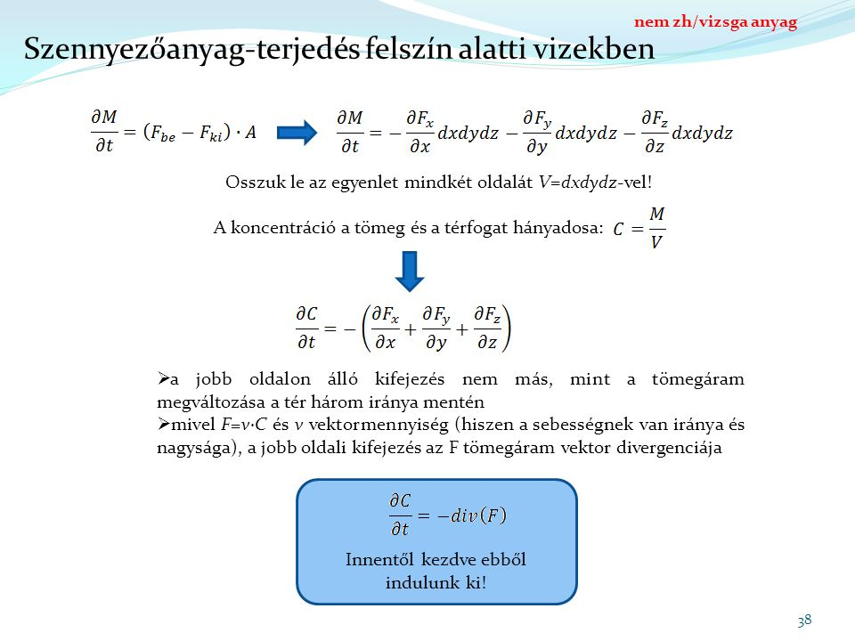 Innentől kezdve ebből indulunk ki! Szennyezőanyag-terjedés felszín alatti vizekben 38 Osszuk le az egyenlet mindkét oldalát V=dxdydz-vel! A koncentrác