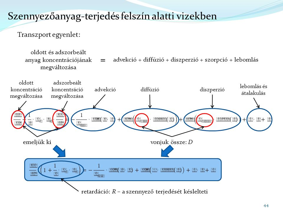 44 Szennyezőanyag-terjedés felszín alatti vizekben Transzport egyenlet: oldott és adszorbeált anyag koncentrációjának megváltozása = advekció + diffúz
