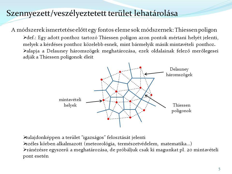 A módszerek ismertetése előtt egy fontos eleme sok módszernek: Thiessen poligon  def.: Egy adott ponthoz tartozó Thiessen poligon azon pontok mértani