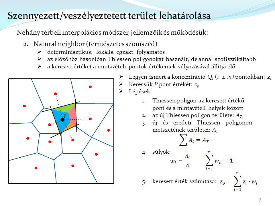 7 Szennyezett/veszélyeztetett terület lehatárolása Néhány térbeli interpolációs módszer, jellemzőik és működésük: 2.Natural neighbor (természetes szom