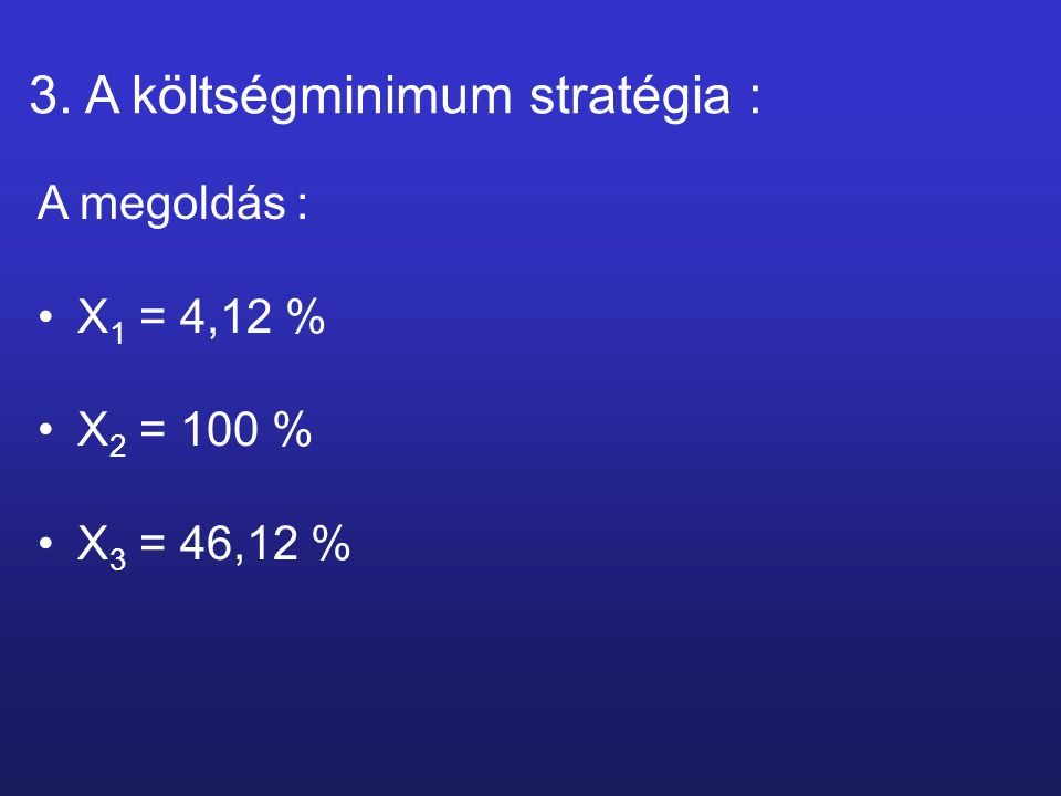 3. A költségminimum stratégia : A megoldás : X 1 = 4,12 % X 2 = 100 % X 3 = 46,12 %