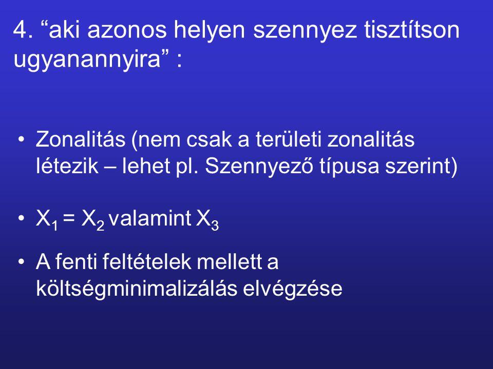 """4. """"aki azonos helyen szennyez tisztítson ugyanannyira"""" : Zonalitás (nem csak a területi zonalitás létezik – lehet pl. Szennyező típusa szerint) X 1 ="""