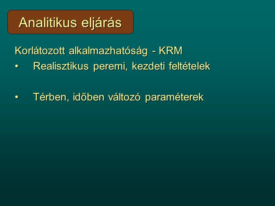Korlátozott alkalmazhatóság - KRM Realisztikus peremi, kezdeti feltételekRealisztikus peremi, kezdeti feltételek Térben, időben változó paraméterekTér
