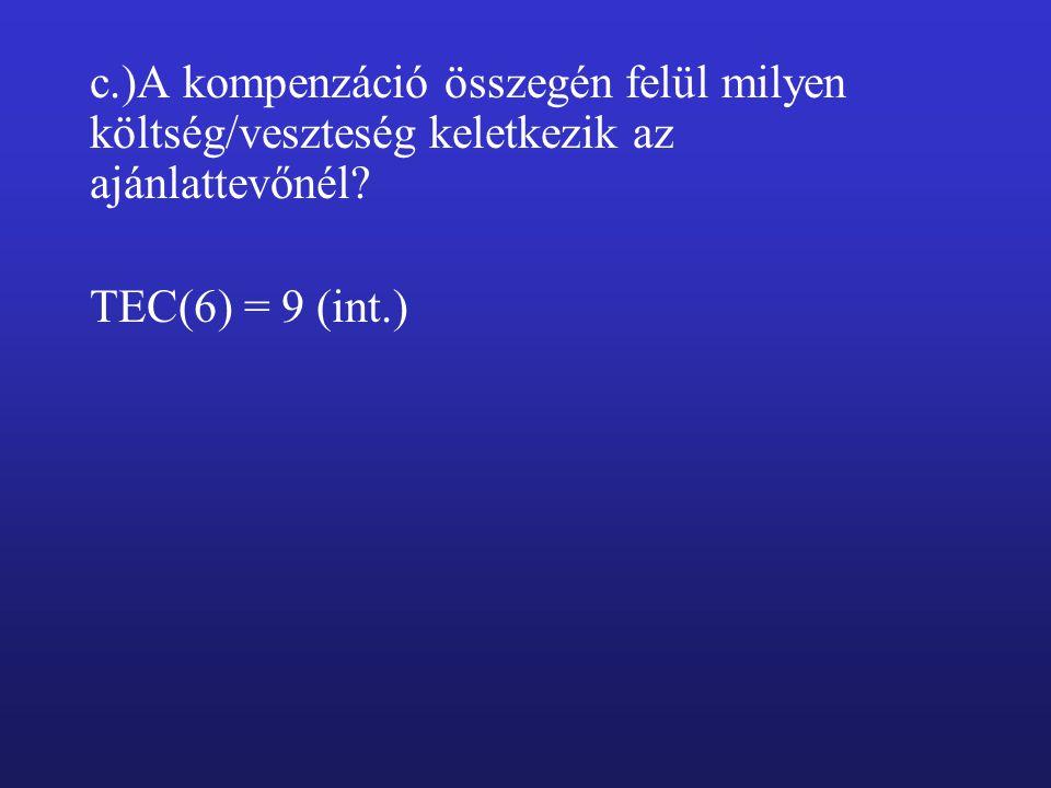 c.)A kompenzáció összegén felül milyen költség/veszteség keletkezik az ajánlattevőnél.