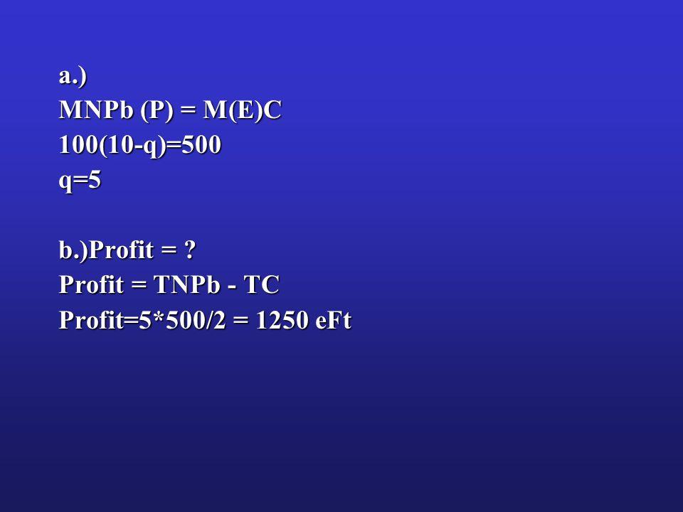 a.) MNPb (P) = M(E)C 100(10-q)=500q=5 b.)Profit = Profit = TNPb - TC Profit=5*500/2 = 1250 eFt