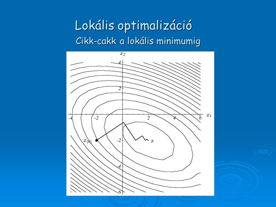 Cikk-cakk a lokális minimumig Lokális optimalizáció