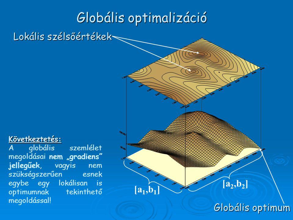 """[a 1,b 1 ] [a 2,b 2 ] Globális optimum Következtetés: A globális szemlélet megoldásai nem """"gradiens jellegűek, vagyis nem szükségszerűen esnek egybe egy lokálisan is optimumnak tekinthető megoldással."""