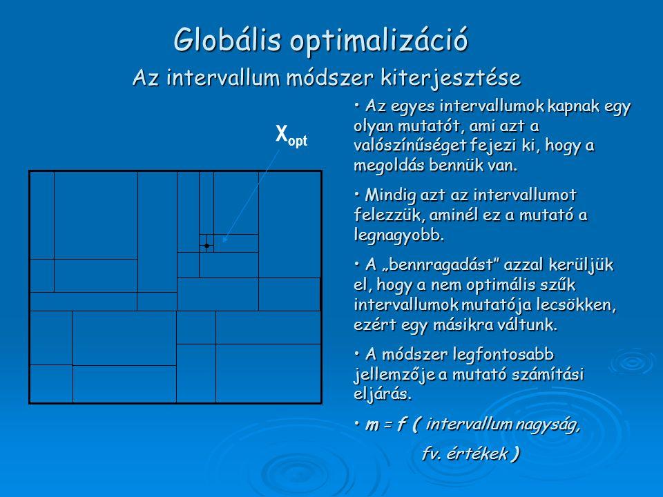 Az intervallum módszer kiterjesztése X opt Az egyes intervallumok kapnak egy olyan mutatót, ami azt a valószínűséget fejezi ki, hogy a megoldás bennük van.