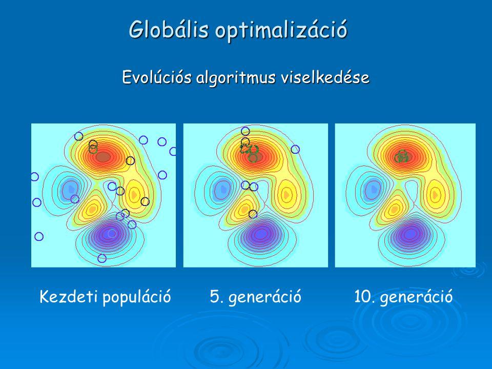 Kezdeti populáció5. generáció10. generáció Evolúciós algoritmus viselkedése Globális optimalizáció
