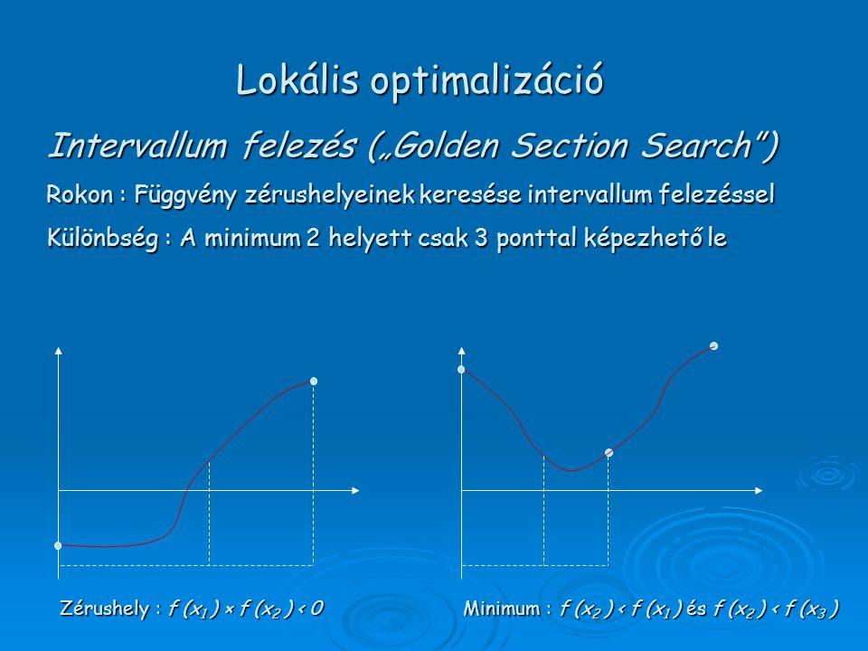 """Intervallum felezés (""""Golden Section Search ) Rokon : Függvény zérushelyeinek keresése intervallum felezéssel Különbség : A minimum 2 helyett csak 3 ponttal képezhető le Zérushely : f (x 1 ) × f (x 2 ) < 0 Minimum : f (x 2 ) < f (x 1 ) és f (x 2 ) < f (x 3 ) Lokális optimalizáció"""