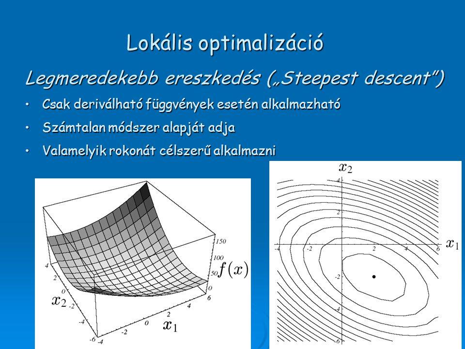"""Legmeredekebb ereszkedés (""""Steepest descent ) Csak deriválható függvények esetén alkalmazhatóCsak deriválható függvények esetén alkalmazható Számtalan módszer alapját adjaSzámtalan módszer alapját adja Valamelyik rokonát célszerű alkalmazniValamelyik rokonát célszerű alkalmazni Lokális optimalizáció"""