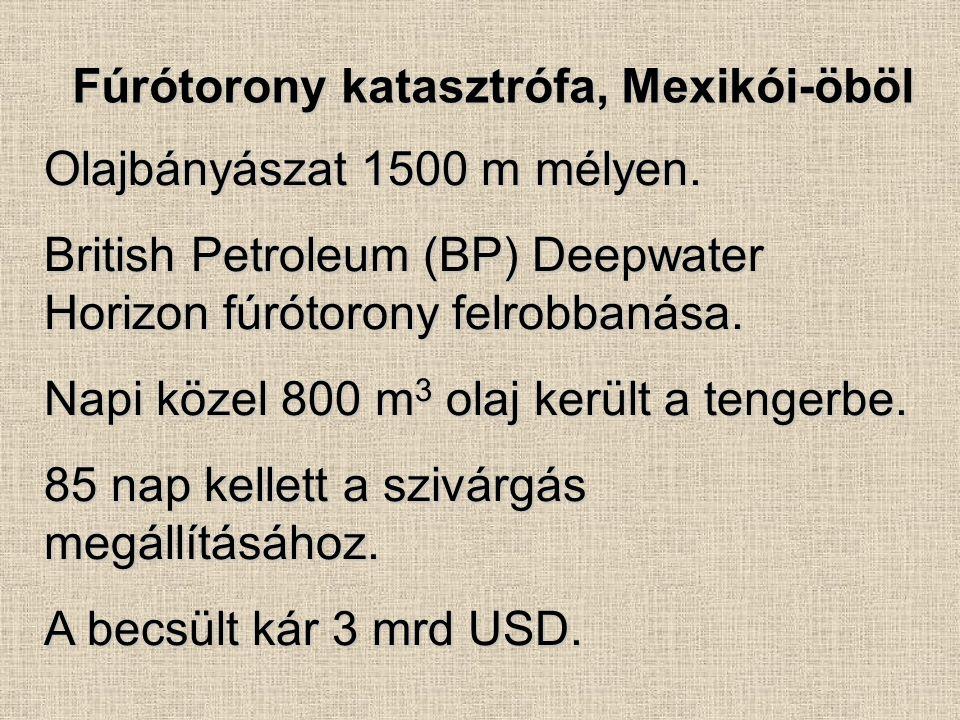Fúrótorony katasztrófa, Mexikói-öböl Olajbányászat 1500 m mélyen. British Petroleum (BP) Deepwater Horizon fúrótorony felrobbanása. Napi közel 800 m 3