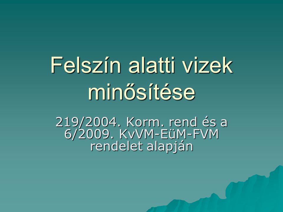 Felszín alatti vizek minősítése 219/2004. Korm. rend és a 6/2009. KvVM-EüM-FVM rendelet alapján