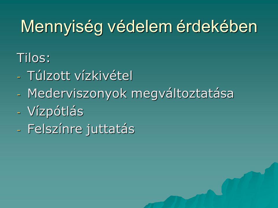 Mennyiség védelem érdekében Tilos: - Túlzott vízkivétel - Mederviszonyok megváltoztatása - Vízpótlás - Felszínre juttatás