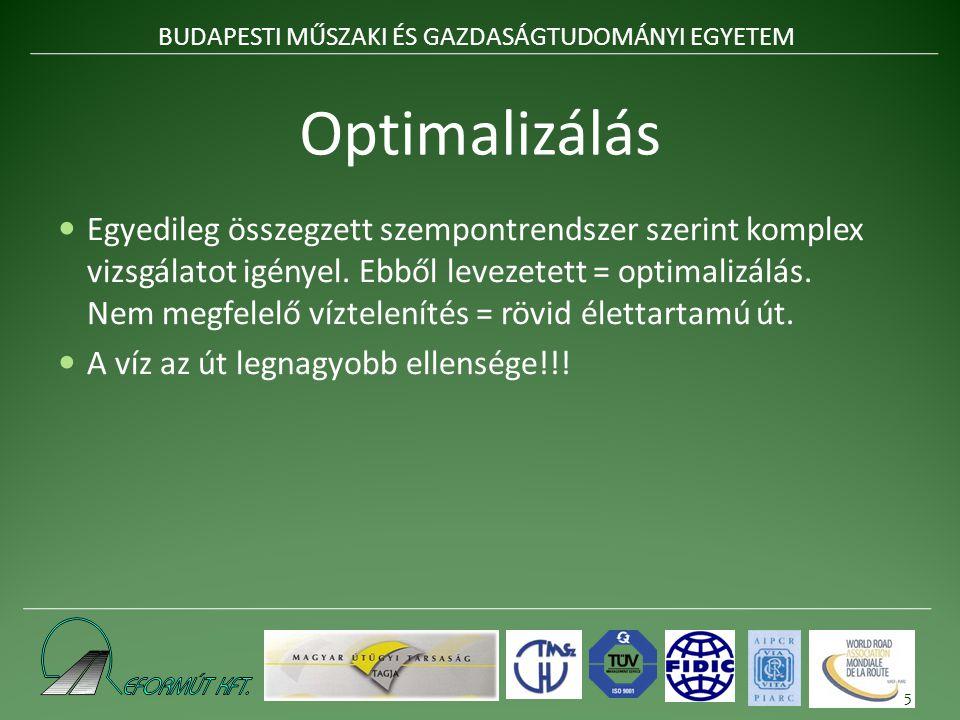 Optimalizálás Egyedileg összegzett szempontrendszer szerint komplex vizsgálatot igényel.