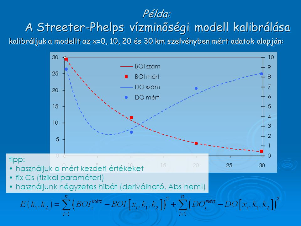 kalibráljuk a modellt az x=0, 10, 20 és 30 km szelvényben mért adatok alapján: BOI szám BOI mért DO szám DO mért tipp: használjuk a mért kezdeti érték