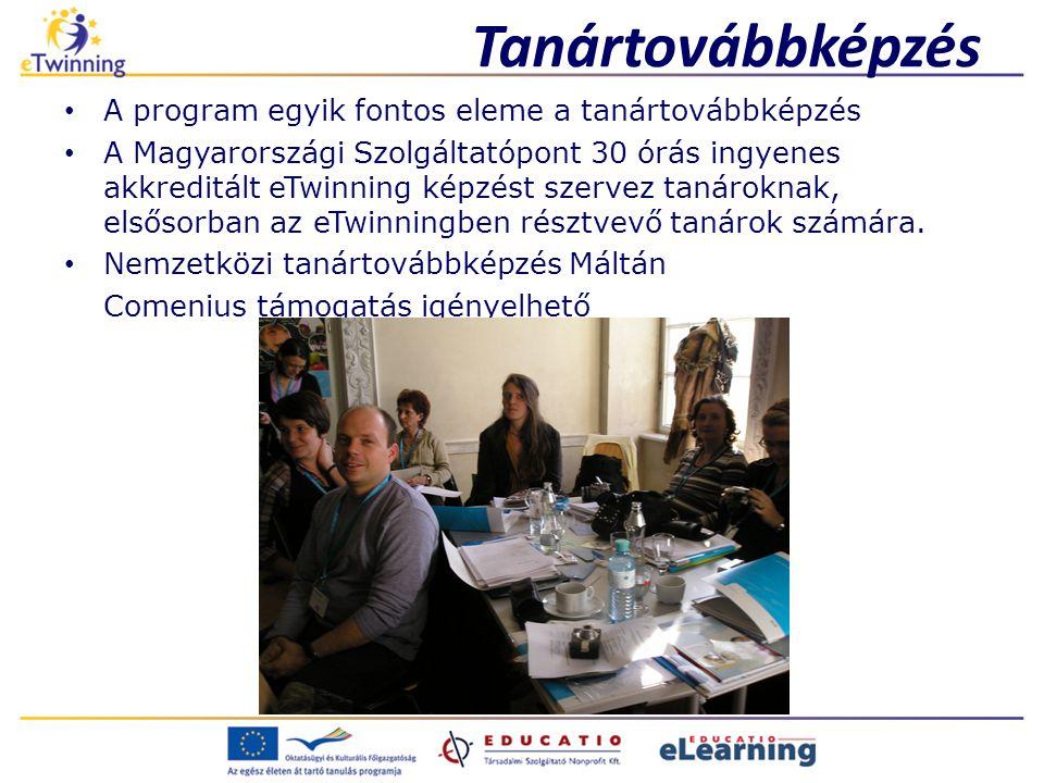Tanártovábbképzés A program egyik fontos eleme a tanártovábbképzés A Magyarországi Szolgáltatópont 30 órás ingyenes akkreditált eTwinning képzést szervez tanároknak, elsősorban az eTwinningben résztvevő tanárok számára.