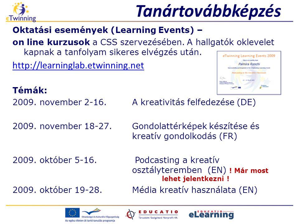 Tanártovábbképzés Oktatási események (Learning Events) – on line kurzusok a CSS szervezésében.