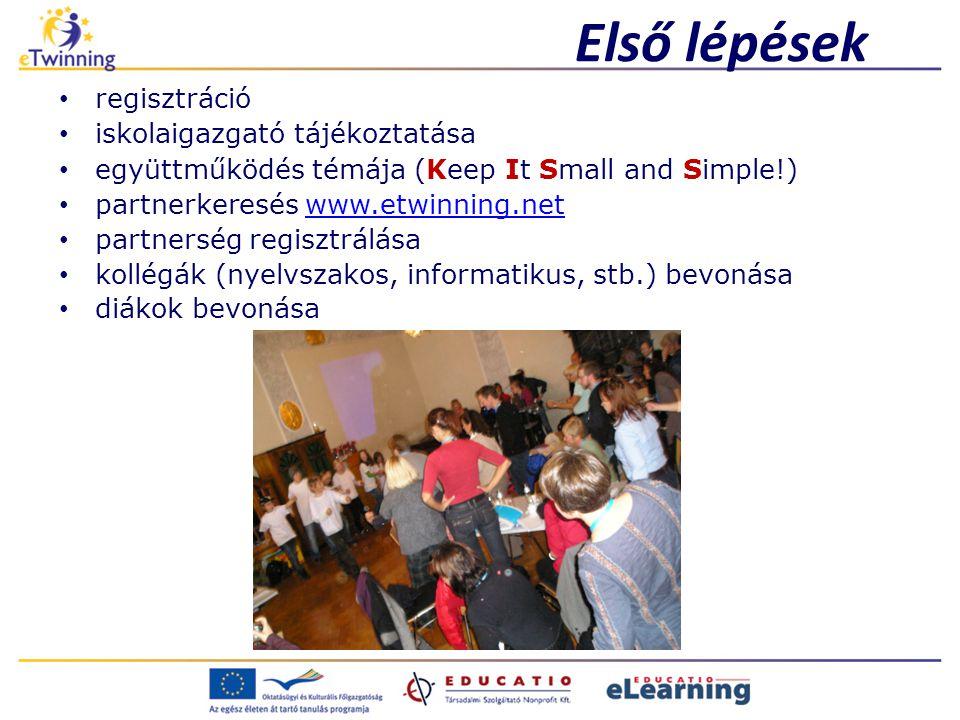 Első lépések regisztráció iskolaigazgató tájékoztatása együttműködés témája (Keep It Small and Simple!) partnerkeresés www.etwinning.netwww.etwinning.net partnerség regisztrálása kollégák (nyelvszakos, informatikus, stb.) bevonása diákok bevonása
