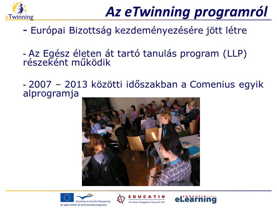 Az eTwinning programról - Európai Bizottság kezdeményezésére jött létre - Az Egész életen át tartó tanulás program (LLP) részeként működik - 2007 – 2013 közötti időszakban a Comenius egyik alprogramja