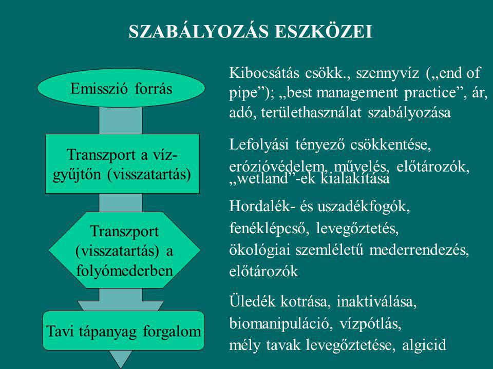 """SZABÁLYOZÁS ESZKÖZEI Emisszió forrás Transzport a víz- gyűjtőn (visszatartás) Transzport (visszatartás) a folyómederben Tavi tápanyag forgalom Kibocsátás csökk., szennyvíz (""""end of pipe ); """"best management practice , ár, adó, területhasználat szabályozása Lefolyási tényező csökkentése, erózióvédelem, művelés, előtározók, """"wetland -ek kialakítása Hordalék- és uszadékfogók, fenéklépcső, levegőztetés, ökológiai szemléletű mederrendezés, előtározók Üledék kotrása, inaktiválása, biomanipuláció, vízpótlás, mély tavak levegőztetése, algicid"""