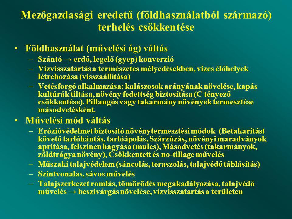 Mezőgazdasági eredetű (földhasználatból származó) terhelés csökkentése Földhasználat (művelési ág) váltás –Szántó → erdő, legelő (gyep) konverzió –Vízvisszatartás a természetes mélyedésekben, vizes élőhelyek létrehozása (visszaállítása) –Vetésforgó alkalmazása: kalászosok arányának növelése, kapás kultúrák tiltása, növény fedettség biztosítása (C tényező csökkentése).