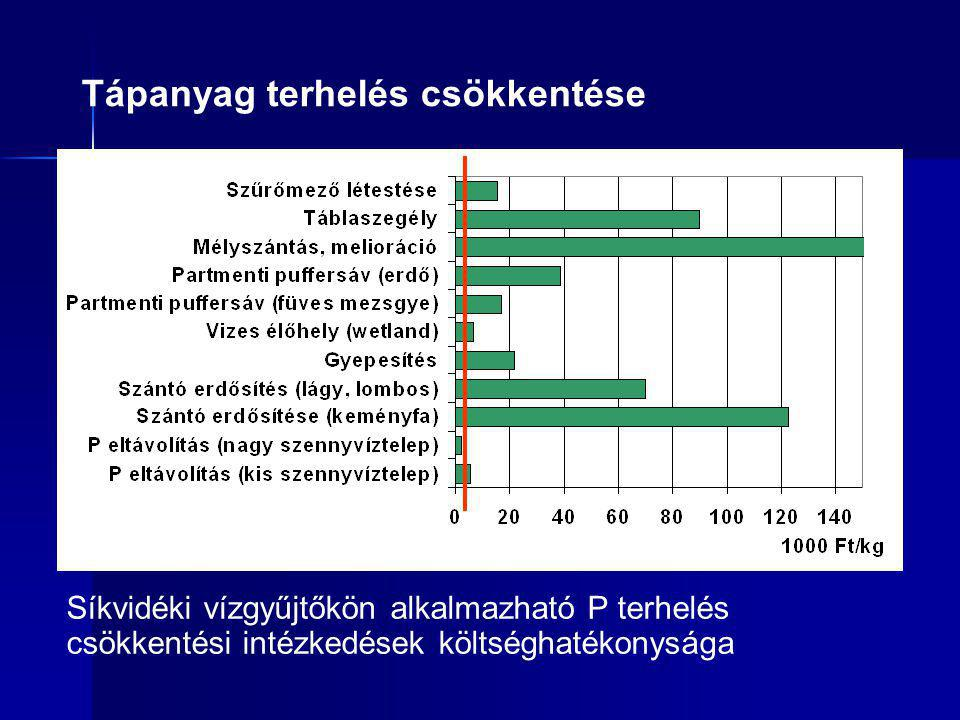 Tápanyag terhelés csökkentése Síkvidéki vízgyűjtőkön alkalmazható P terhelés csökkentési intézkedések költséghatékonysága
