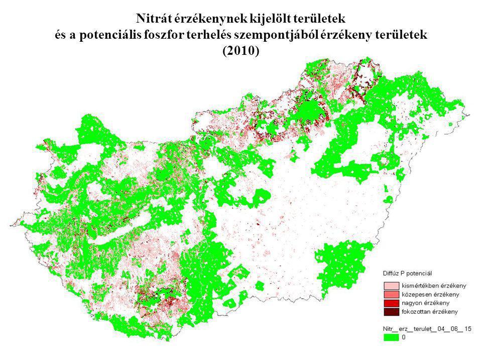Nitrát érzékenynek kijelölt területek és a potenciális foszfor terhelés szempontjából érzékeny területek (2010)