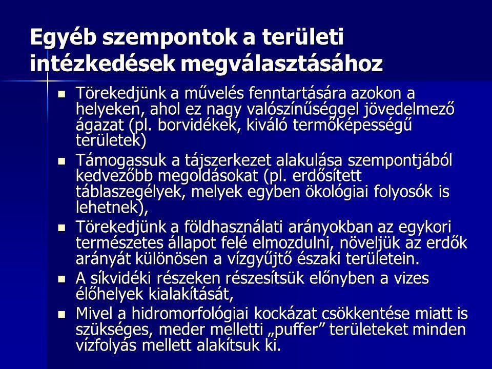Egyéb szempontok a területi intézkedések megválasztásához Törekedjünk a művelés fenntartására azokon a helyeken, ahol ez nagy valószínűséggel jövedelmező ágazat (pl.
