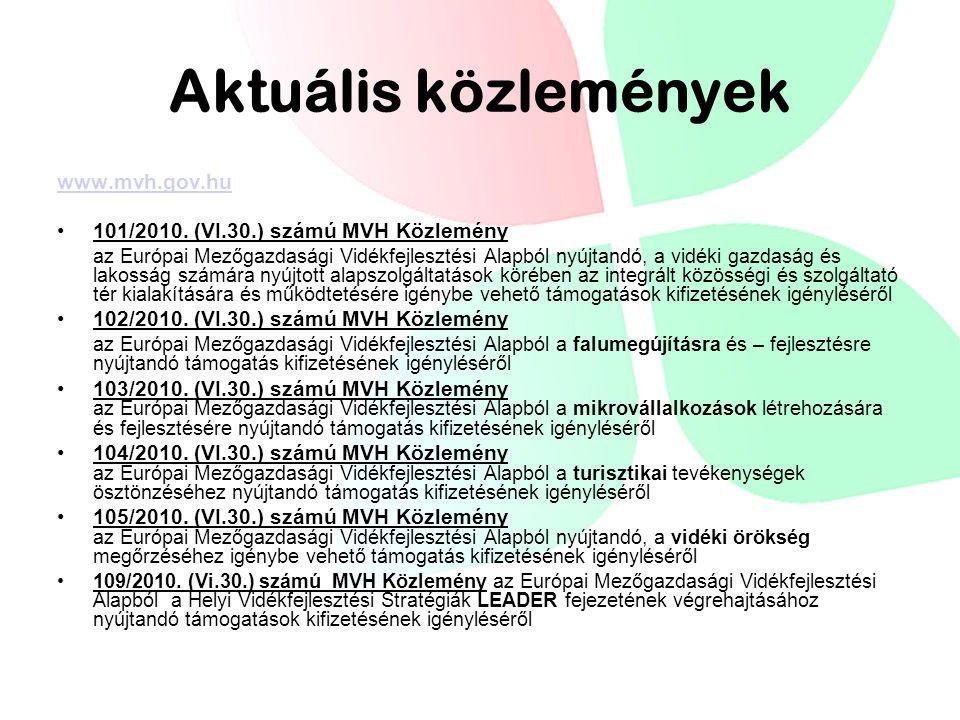 Aktuális közlemények www.mvh.gov.hu 101/2010.