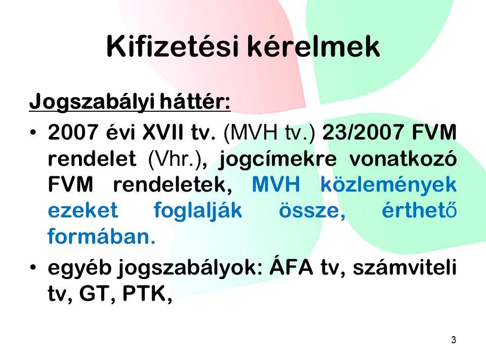 Kifizetési kérelmek Jogszabályi háttér: 2007 évi XVII tv. (MVH tv.) 23/2007 FVM rendelet (Vhr.), jogcímekre vonatkozó FVM rendeletek, MVH közlemények