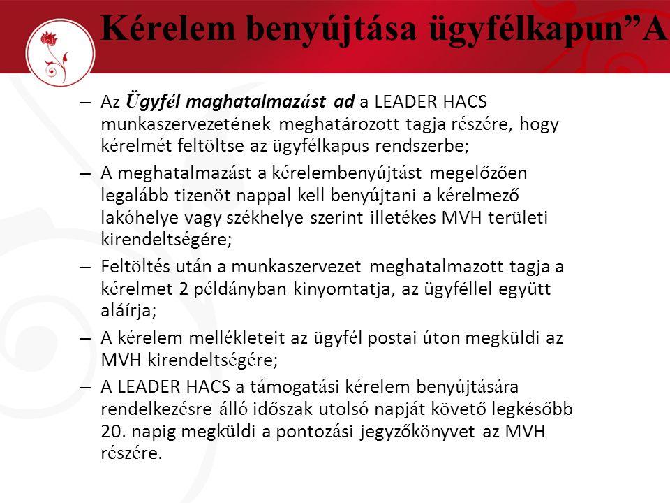 – Az Ü gyf é l maghatalmaz á st ad a LEADER HACS munkaszervezetének meghatározott tagja r é sz é re, hogy k é relm é t felt ö ltse az ü gyf é lkapus r