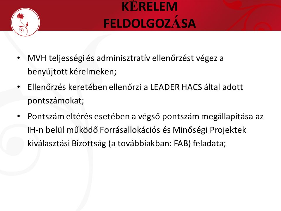 K É RELEM FELDOLGOZ Á SA MVH teljességi és adminisztratív ellenőrzést végez a benyújtott kérelmeken; Ellenőrzés keretében ellenőrzi a LEADER HACS álta