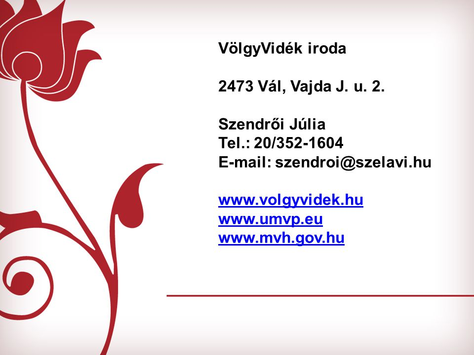 VölgyVidék iroda 2473 Vál, Vajda J. u. 2. Szendrői Júlia Tel.: 20/352-1604 E-mail: szendroi@szelavi.hu www.volgyvidek.hu www.umvp.eu www.mvh.gov.hu
