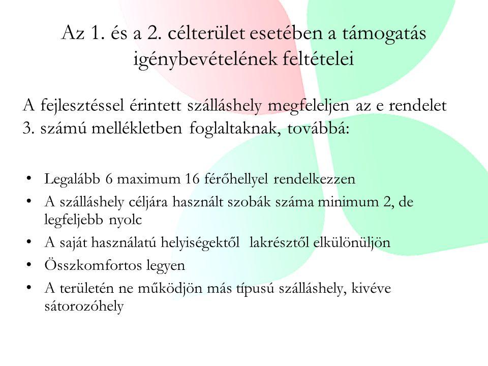 Az 1. és a 2. célterület esetében a támogatás igénybevételének feltételei Legalább 6 maximum 16 férőhellyel rendelkezzen A szálláshely céljára használ