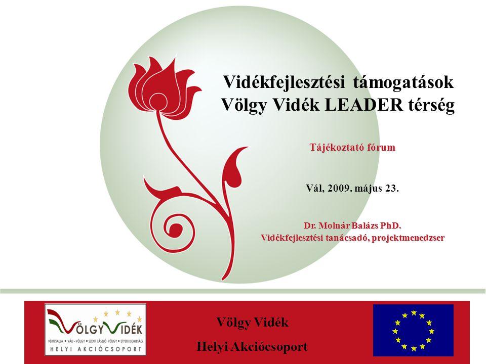 """""""New Hungary Rural Development Programme 2007-2013 Vidékfejlesztési támogatások Völgy Vidék LEADER térség AaAa Völgy Vidék Helyi Akciócsoport Tájékoztatófórum Tájékoztató fórum Vál, 2009."""