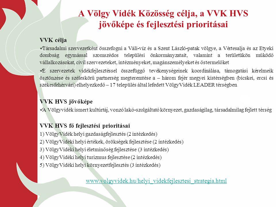 A Völgy Vidék Közösség célja, a VVK HVS jövőképe és fejlesztési prioritásai VVK célja Társadalmi szervezetként összefogni a Váli-víz és a Szent László-patak völgye, a Vértesalja és az Etyeki dombság egymással szomszédos települési önkormányzatait, valamint a területükön működő vállalkozásokat, civil szervezeteket, intézményeket, magánszemélyeket és őstermelőket E szervezetek vidékfejlesztéssel összefüggő tevékenységeinek koordinálása, támogatási kérelmeik ösztönzése és széleskörű partnerség megteremtése a – három fejér megyei kistérségben (bicskei, ercsi és székesfehérvári) elhelyezkedő – 17 település által lefedett VölgyVidék LEADER térségben VVK HVS jövőképe A Völgyvidék ismert kultúrtáj, vonzó lakó-szolgáltató környezet, gazdaságilag, társadalmilag fejlett térség VVK HVS fő fejlesztési prioritásai 1) VölgyVidék helyi gazdaságfejlesztés (2 intézkedés) 2) VölgyVidéki helyi értékek, örökségek fejlesztése (2 intézkedés) 3) VölgyVidéki helyi életminőség fejlesztése (3 intézkedés) 4) VölgyVidéki helyi turizmus fejlesztése (2 intézkedés) 5) VölgyVidéki helyi környezetfejlesztés (3 intézkedés) www.volgyvidek.hu/helyi_videkfejlesztesi_strategia.html
