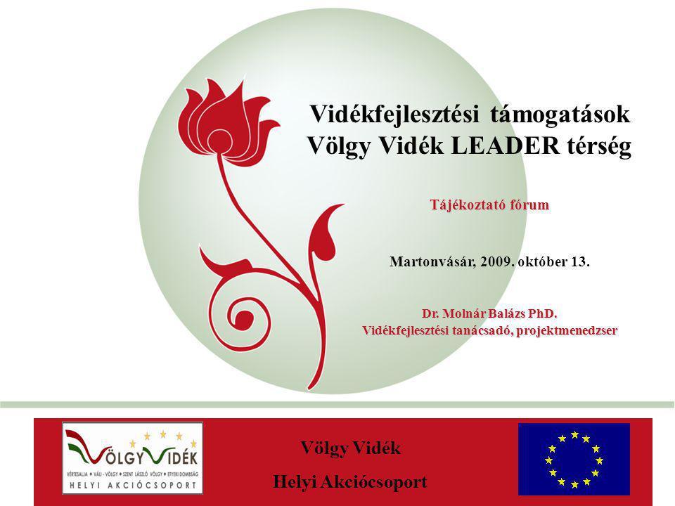 """""""New Hungary Rural Development Programme 2007-2013 Vidékfejlesztési támogatások Völgy Vidék LEADER térség AaAa Völgy Vidék Helyi Akciócsoport Tájékoztatófórum Tájékoztató fórum Martonvásár, 2009."""