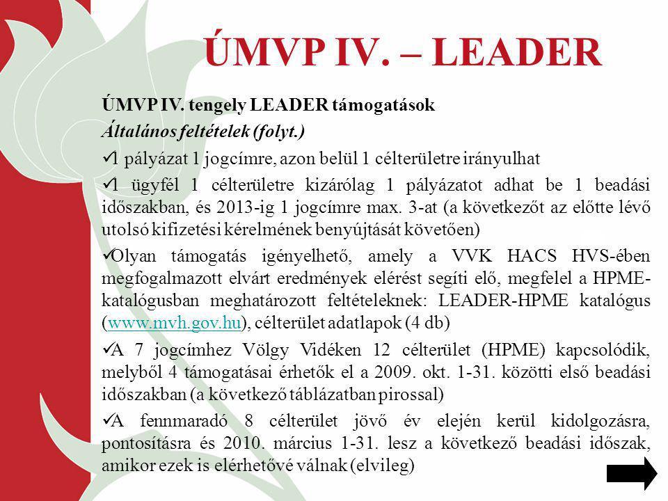 ÚMVP IV. – LEADER ÚMVP IV. tengely LEADER támogatások Általános feltételek (folyt.) 1 pályázat 1 jogcímre, azon belül 1 célterületre irányulhat 1 ügyf