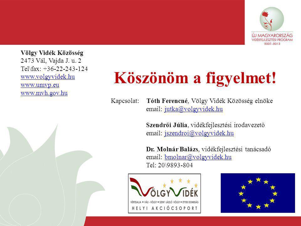 Köszönöm a figyelmet! Völgy Vidék Közösség 2473 Vál, Vajda J. u. 2 Tel\fax: +36-22-243-124 www.volgyvidek.hu www.umvp.eu www.mvh.gov.hu Kapcsolat: Tót