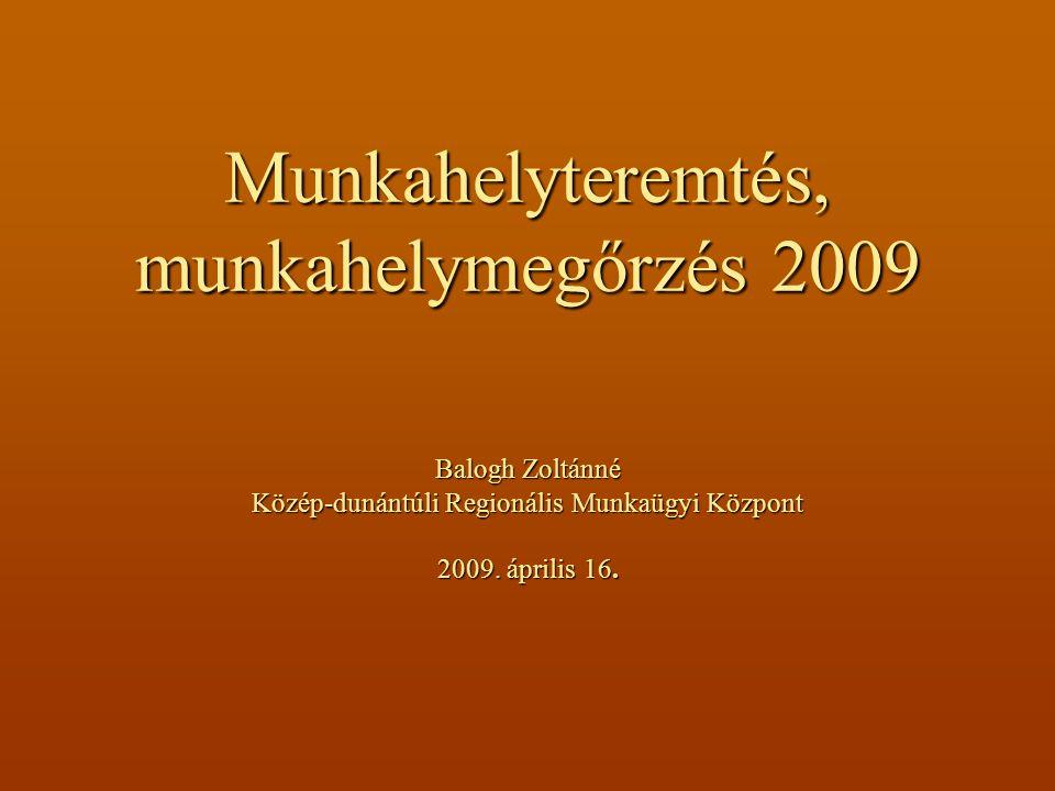 Munkahelyteremtés, munkahelymegőrzés 2009 Balogh Zoltánné Közép-dunántúli Regionális Munkaügyi Központ 2009.